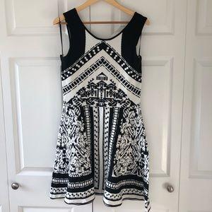 Lush Dresses - Lush Black and White Print Sweater Dress